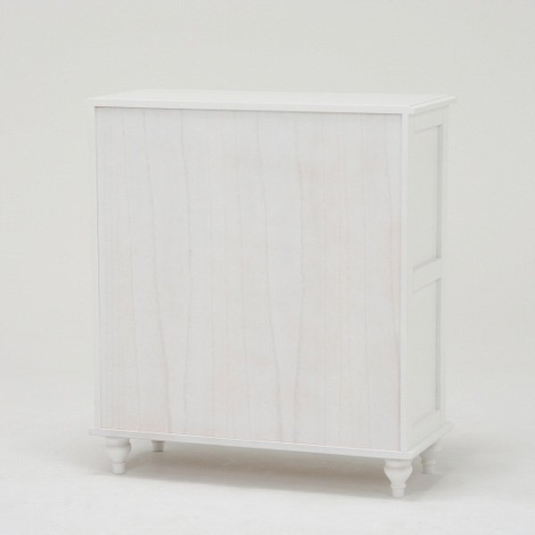 【セール!】【Feminine Wood Furniture】 フェミニンな白家具♪ワイドチェスト・ホワイト(W80×D35×H90cm)