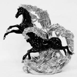 馬の置物・ブラック&シルバー(W51×D23×H48cm)