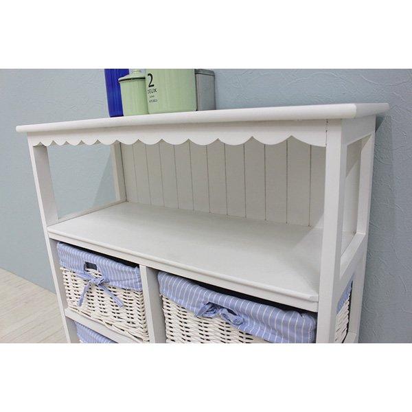 【セール!】 フェミニンな白家具♪キャビネット・ホワイト(W70×D30×H75cm)