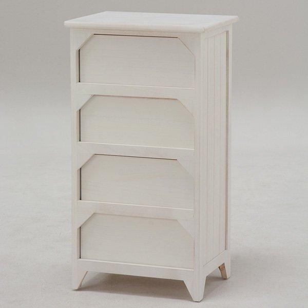 【セール!】白家具・クリスタル調取っ手♪ランドリーチェスト・ホワイト(W41×D31×H76cm)