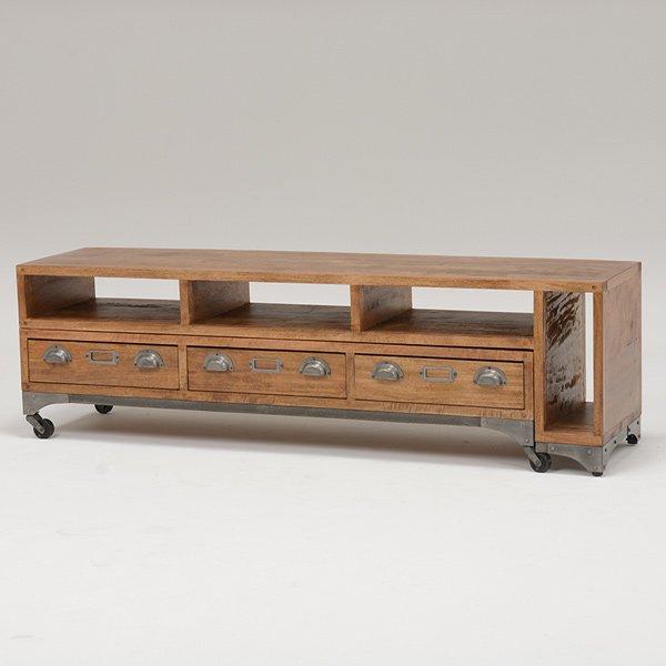 【セール!】【LIBERTA】 インダストリアルスタイル家具 リビングボード(W150〜274×D37×H45cm)