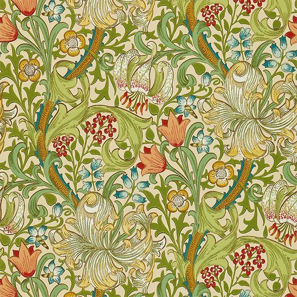 輸入壁紙 【MORRIS VOLUME II WALLPAPERS】 MORRIS&Co. イギリス「Golden Lily」(52cm巾×10m巻)