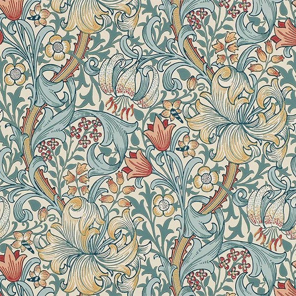 輸入壁紙 【MORRIS ARCHIVE WALLPAPERS】 MORRIS&Co. イギリス「Golden Lily」(52cm巾×10m巻)