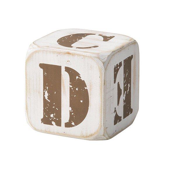 【即納可!】 木製サイコロ・ホワイトS・アルファベット(A/B/C/D/E/&)