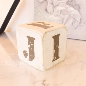 <b>【即納可!】</b>木製サイコロ・ホワイトS・アルファベット(F/G/H/I/J/-)