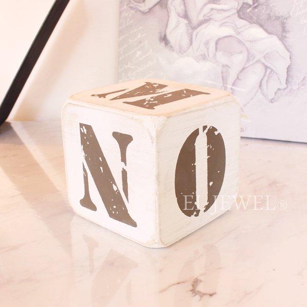 【入荷未定】 木製サイコロ・ホワイトS・アルファベット(K/L/M/N/O/@)