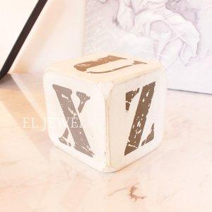 <b>【即納可!】</b>木製サイコロ・ホワイトS・アルファベット(U/V/W/X/Y/Z)