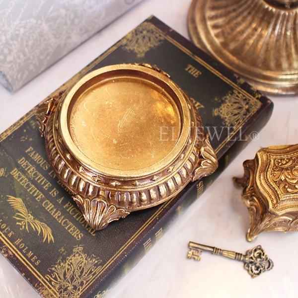 【即納可!】 アンティーク調ゴールドキャンドルホルダートレイ(φ11×H5cm)