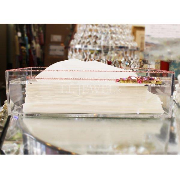 【在庫有】 キラキラスワロフスキーデコレーション♪ティッシュボックス ライトローズビジュー(W26×D13×H7cm)