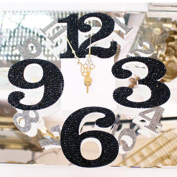 【即納可!】 キラキラスワロフスキーデコレーション♪ウォールクロック ブラック(φ28×H1cm)