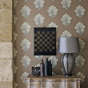 輸入壁紙<b>【WOODLAND WALK WALLPAPERS】</b>Sanderson 英国「Oak Filigree」(52cm巾×10m巻)
