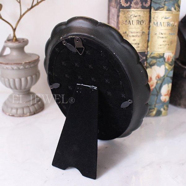 【即納可!】アンティーク調波型オーバルフォトフレーム・ブラック(15.5×20.5cm)