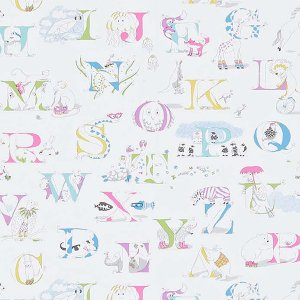 輸入壁紙<b>【ABRACAZOO WALLPAPERS】</b>Sanderson 英国「Alphabet Zoo」(68.6cm巾×10m巻)