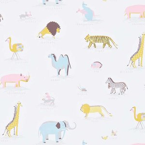 輸入壁紙<b>【ABRACAZOO WALLPAPERS】</b>Sanderson 英国「Two By Two」(68.6cm巾×10m巻)