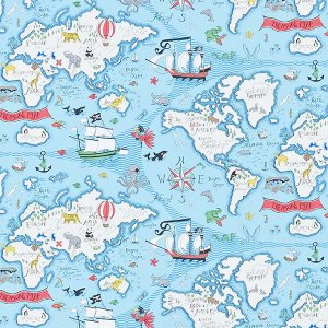輸入壁紙<b>【ABRACAZOO WALLPAPERS】</b>Sanderson 英国「Treasure Map」(68.6cm巾×10m巻)