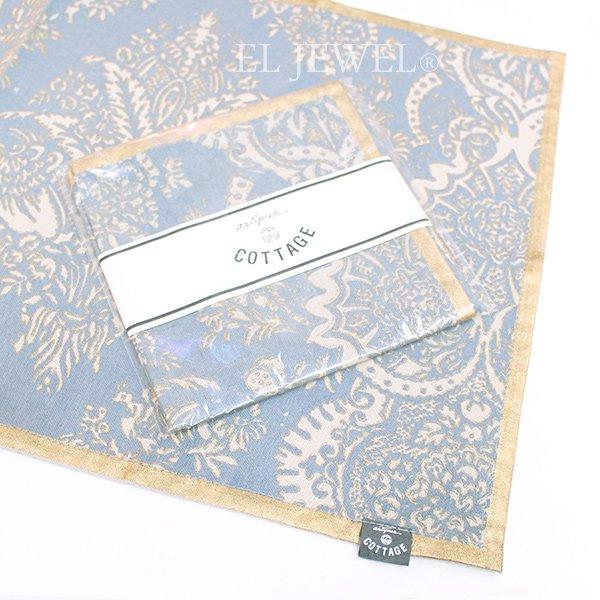 【入荷未定】 アンティークプリントランチョンマット・ブルー(45×32cm)