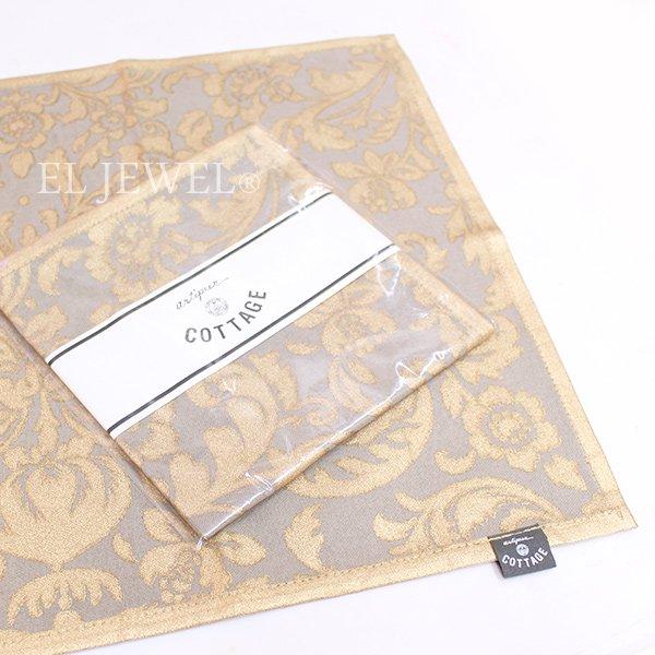 【即納可!】 アンティークプリントランチョンマット・グレー(45×32cm)
