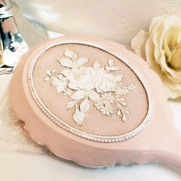【即納可!】 ロココ調 ローズのハンドミラー<フレンチピンク>(W11.5×D24cm)