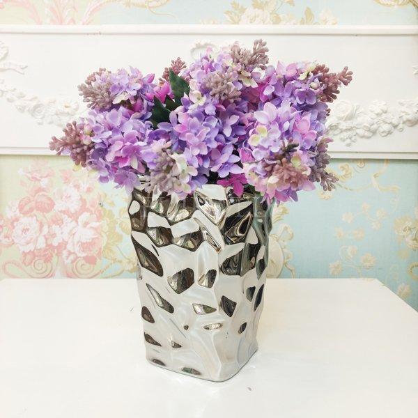 【入荷未定】 【フラワーベース】花器「SOLID IV-ソリッド」(H18cm)シルバー