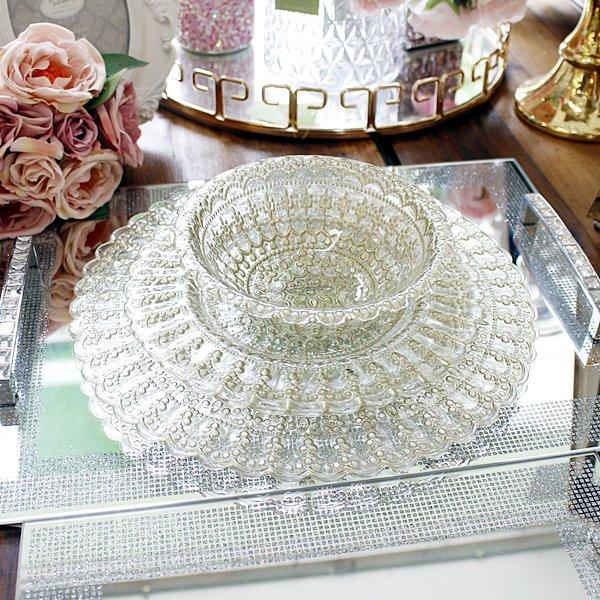 【即納可!】エレガントなおもてなしに♪トルコ製ゴールドレース柄ガラスプレート・S(22cm)