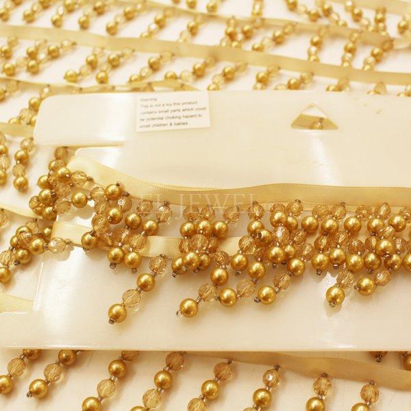 【超特価セール!】 【英国T&T社】イギリス直輸入 カーテン ビーズフリンジ ゴールド系(5m)