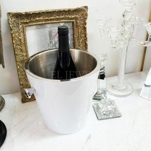 【フランス-Aulica-】シャンパンバケツ・ホワイト(Φ23×H23cm)