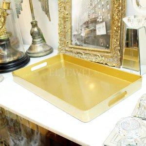 【即納可!】【フランス-Aulica-】ゴールドグリッタートレイ(W40×D24×H3.5cm)