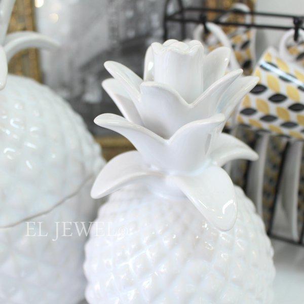 【即納可!】【フランス-Aulica-】ホワイトパイナップルの小物入れ M(Φ11×H21cm)
