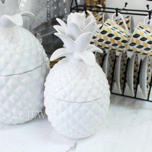 【7月下旬入荷予定】【フランス-Aulica-】ホワイトパイナップルの小物入れ M(Φ11×H21cm)