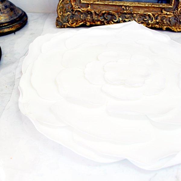 【即納可!】 【フランス-Aulica-】ホワイトフラワープレートマット(Φ35cm)