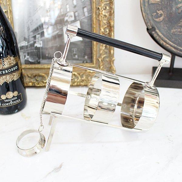 【即納可!】【アメリカ-ZODAX】ハンドル付きワインホルダー(W18×H20×Φ9cm)