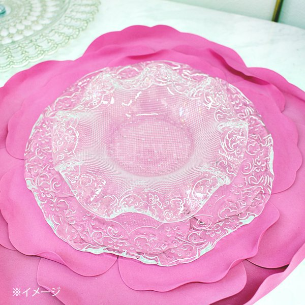 【即納可!】エレガントなおもてなしに♪トルコ製オフィーリアフリルガラスプレートS(17cm)