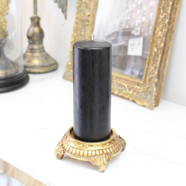 【完売】 SNS限定 アンティーク調ゴールドキャンドルホルダートレイ(+ブラックキャンドル)(φ11×H5cm)