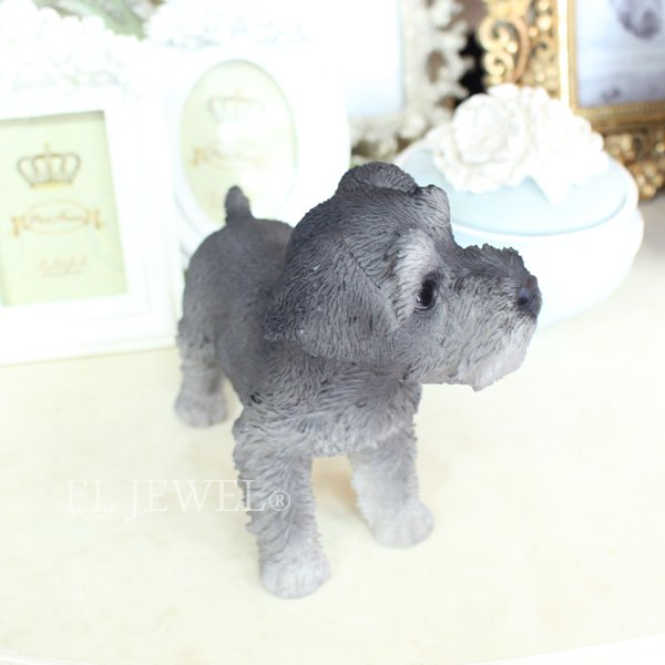 【即納可!】子犬のオブジェ♪シュナウザー(9×14×H13cm)