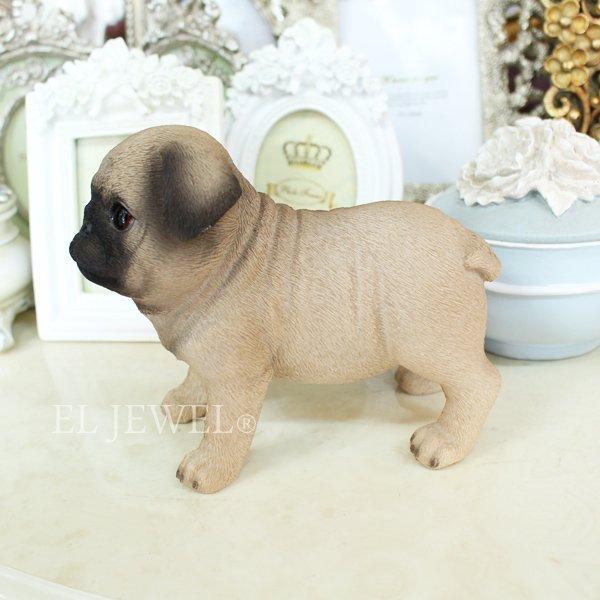 【入荷未定】 子犬のオブジェ♪パグ(7×14×H11.5cm)