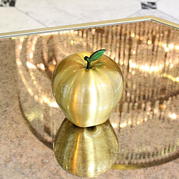【完売】 灰皿にも♪真鍮製幸運を呼ぶ金のリンゴ(H9cm)