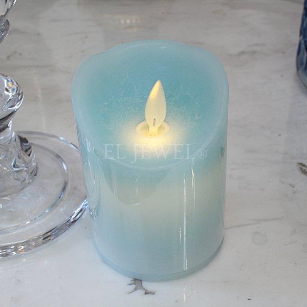 【即納可!】【A&B Home-アメリカ】 グラスエンタシスキャンドルホルダー&LEDキャンドルセット(ブルー)・L