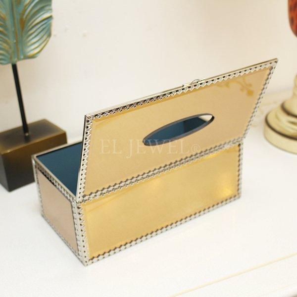 【即納可!】ミラーティッシュBOX(W25.5×H10.5)ゴールド