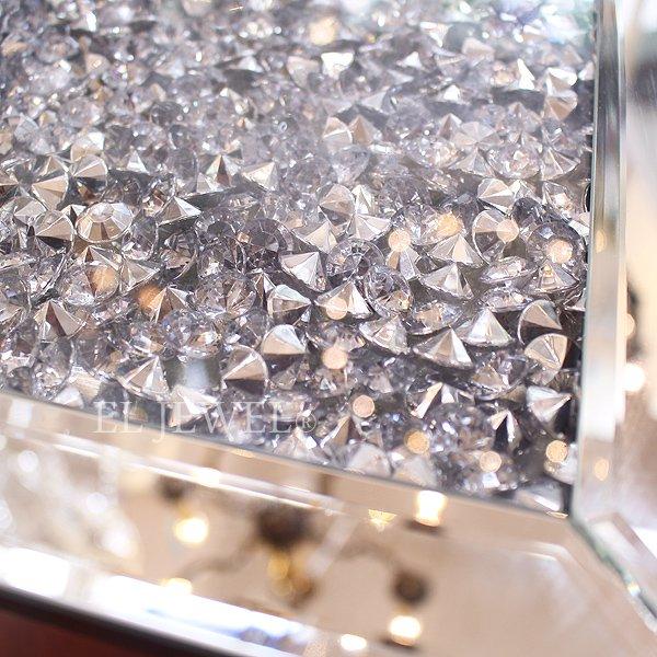 キラキラ☆クリスタル・ミラーテーブル(W35×H66cm)ダイヤ