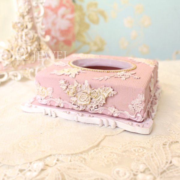 クラシックローズ・ポケットティッシュケース<ピンク>(W14cm)