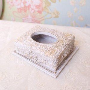 【即納可!】クラシックローズ・ポケットティッシュケース<ホワイト>(W14cm)