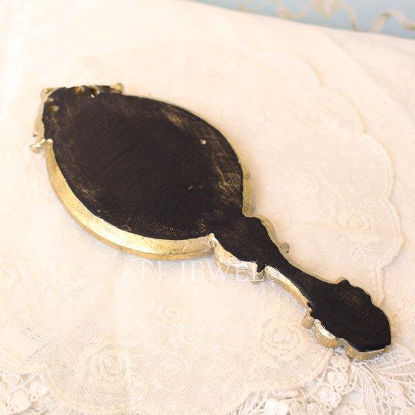 【即納可!】アンティークローズ・ハンドミラー<グリーン>(W25.5cm)