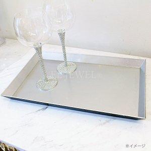 【即納可!】【フランス-Aulica-】シルバーグリッタートレイ(W40×D24×H3.5cm)