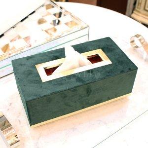 【即納可!】【フランス-Aulica-】ティッシュBOX・グリーン(D14×W26×H9.5cm)