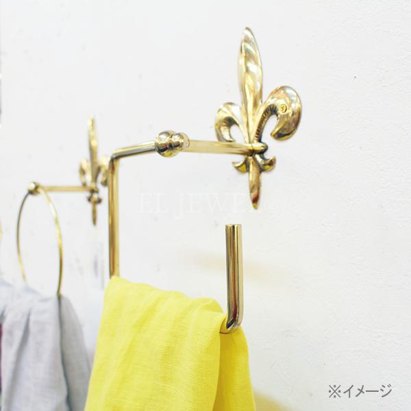 【即納可!】【Q&Q-スペイン】タオルホルダー「百合の紋章」シルバー(17.3×8.5×21 cm)