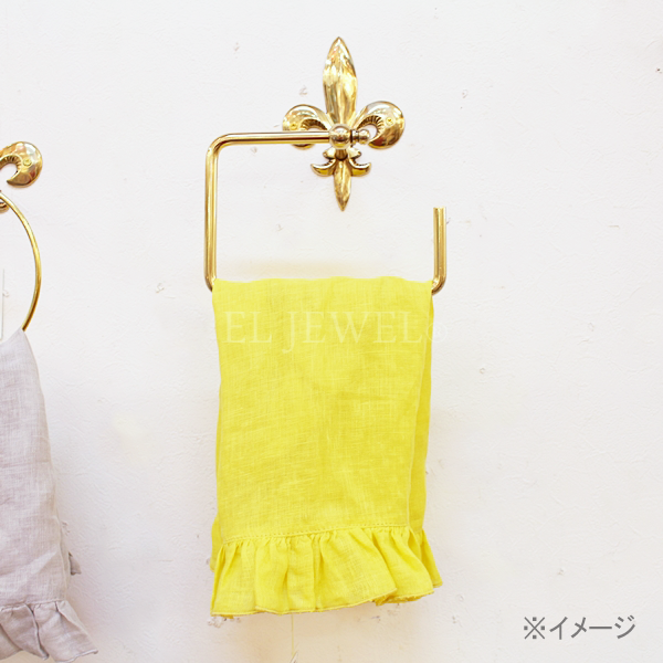 【即納可!】【Q&Q-スペイン】タオルホルダー「百合の紋章」ゴールド(17.3×8.5×21 cm)