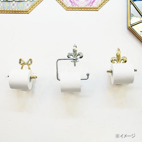 【Q&Q-スペイン】トイレットペーパーホルダー「リボン」ゴールド(16.5×8.5×11.5 cm)