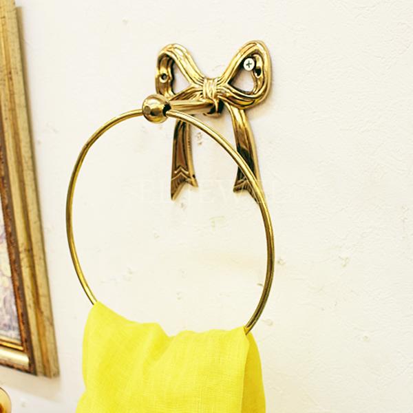 【即納可!】【Q&Q-スペイン】タオルリング「リボン」ゴールド(17×9 21 cm)