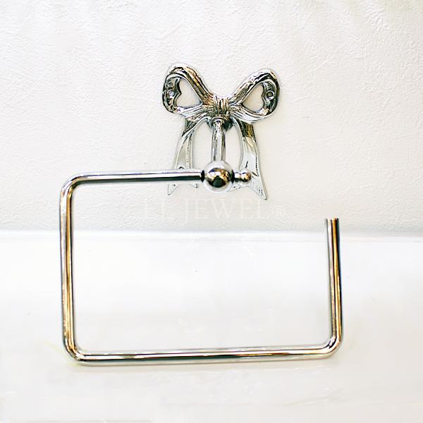 【即納可!】【Q&Q-スペイン】タオルホルダー「リボン」シルバー(18.9×9×16.5 cm)