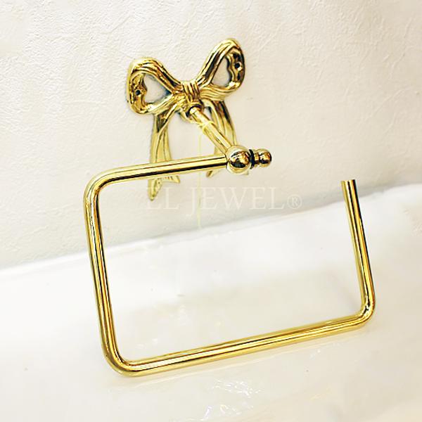 【Q&Q-スペイン】タオルホルダー「リボン」ゴールド(18.9×9×16.5 cm)